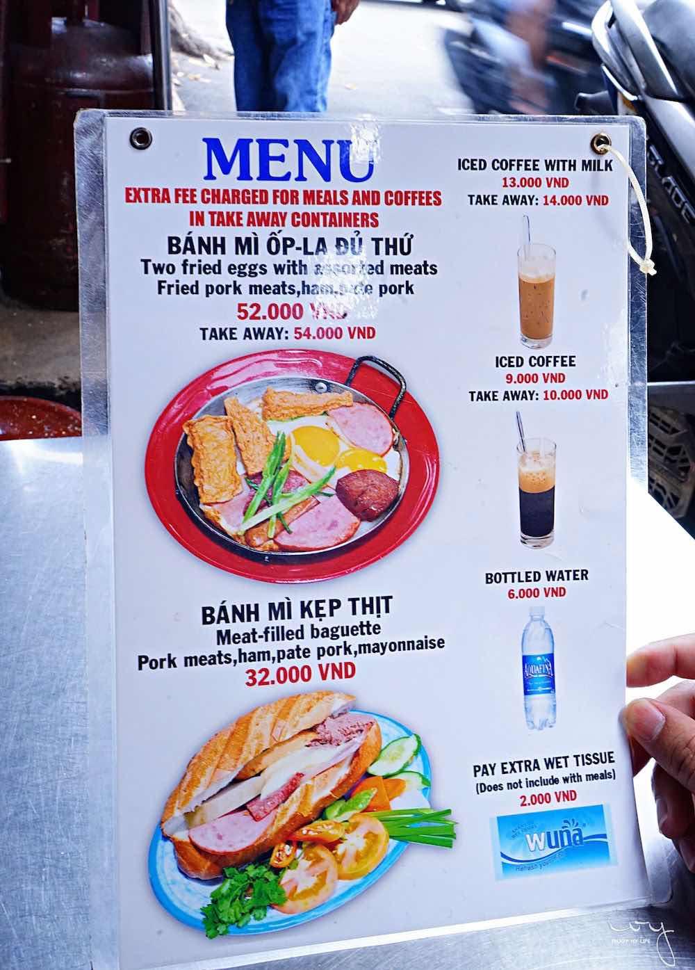 Banh Mi Hoa Ma 菜單