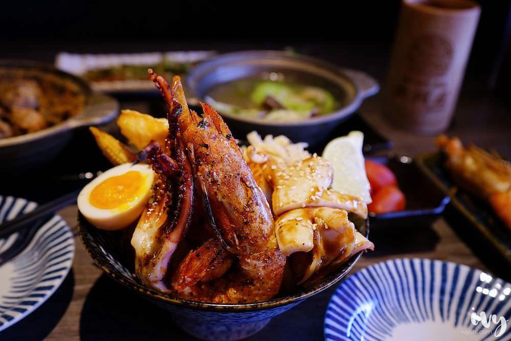 大河屋居酒屋|高雄大魯閣草衙道美食推薦,人氣燒肉丼和串燒,還有日式味噌湯、飲料免費喝!(文末有菜單)