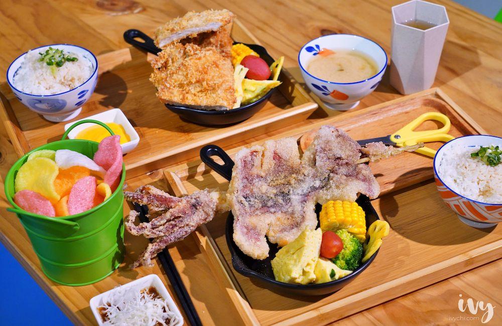 安羽軒食堂 台中北區美食,平價丼飯的邪惡起司豬排,白飯、小菜、飲料、蝦餅吃到飽