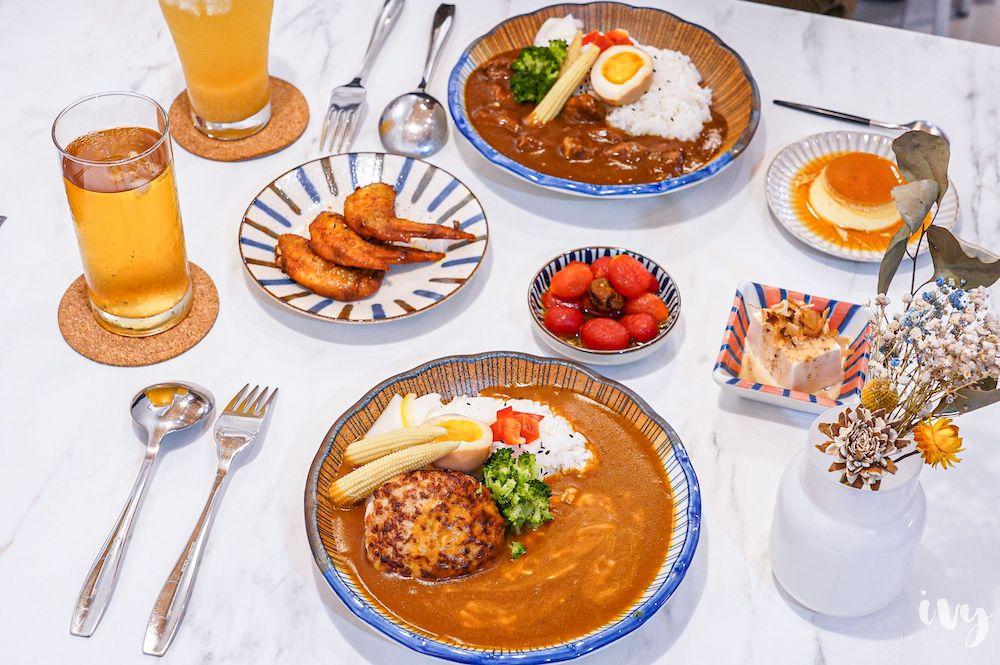 捲捲咖哩  藏身在台中南屯的小清新咖喱飯,每日限量漢堡排咖喱飯饕客必點!咖哩雞翅、柚香蘿蔔涮嘴過癮~