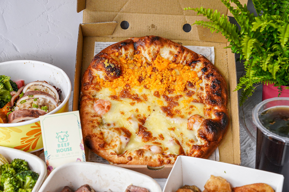 牛室炙燒牛排大里店  台中大里外帶美食,也能吃到內用秒殺的鹹蛋黃芋泥雙拼披薩、精緻牛排排餐了~